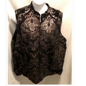 Size 2X Erin Vest Black & Gold Pretty